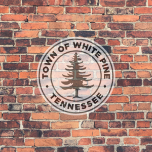 White Pine Tennessee Town Seal on a brick background